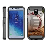 TurtleArmor | Compatible for Samsung Galaxy J3 (2018) Case | J337 [Armor Pro] Heavy Duty Full Body Kickstand Holster Belt Clip Armor Case Sports and Games - Baseball Dirt