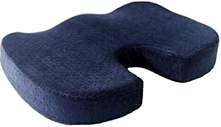 Coccyx Orthopedic Memory Foam Seat Cushion - Helps with Sciatica Back Pain - Perfect for Your Office Chair and Sitting on The Floor Gives Relief from Tailbone Pain (Navy Blue)