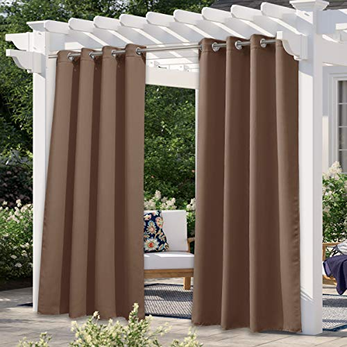 NICETOWN Outdoor Curtain for Patio Waterproof Extra Long W52 x L108, Rustproof Grommet Public Divider Blackout Thermal Insulated Outdoor Drape for Pergola / Porch, Tan, 1 Panel