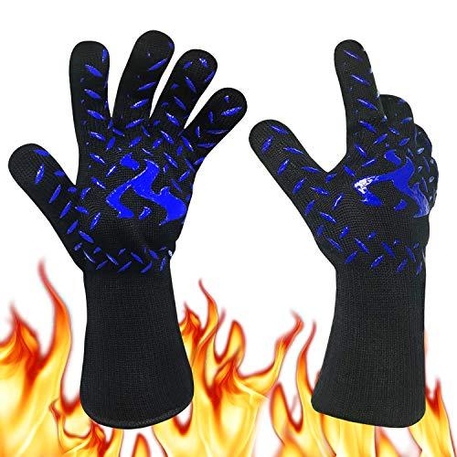 Gants de Barbecue Anti-Chaleur Jusqu'à 800°C,Certifié EN407, Universel Gants de Cuisine Résistant à la Chaleur, Parfait pour Grill BBQ Cuisine Four de Cuisson Coin du Feu Cheminée,1 Paire (Bleu)