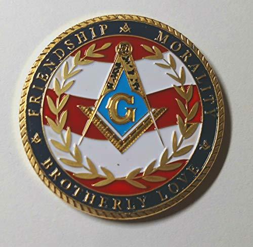 Masonic Freemason Friendship Morality Brotherly Love - United States Freemason Military Veteran Colorized Challenge Art Coin