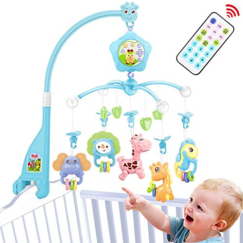 Baby Mobile for Crib, Baby Plush Crib Mobile with Lights and Music, Toys, Holder,Projector for Pack and Play (Blue) (Blue-Forest)