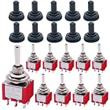 Twidec/10Pcs Mini Toggle Switch DPDT 3 Position 6 Pins ON/OFF/ON AC 125V 5A Car Boat Switches with Waterproof Cap MTS-203MZ