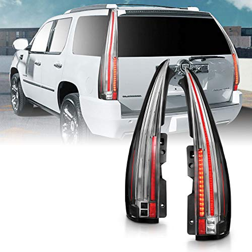 AmeriLite for 2007-2014 Cadillac Escalade ESV [Full LED] Replacement Taillights Pair - Passenger and Driver Side