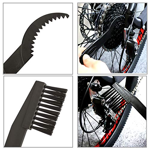 JTENG Fahrrad Kettenreinigungsgerät Kettenreiniger Fahrradventil Adapter Reinigung Scrubber Pinsel-Werkzeug im Set mit Ritzelbürste,4er Fahrrad Ventiladapter, 2 Paar Latexhandschuhe, - 4