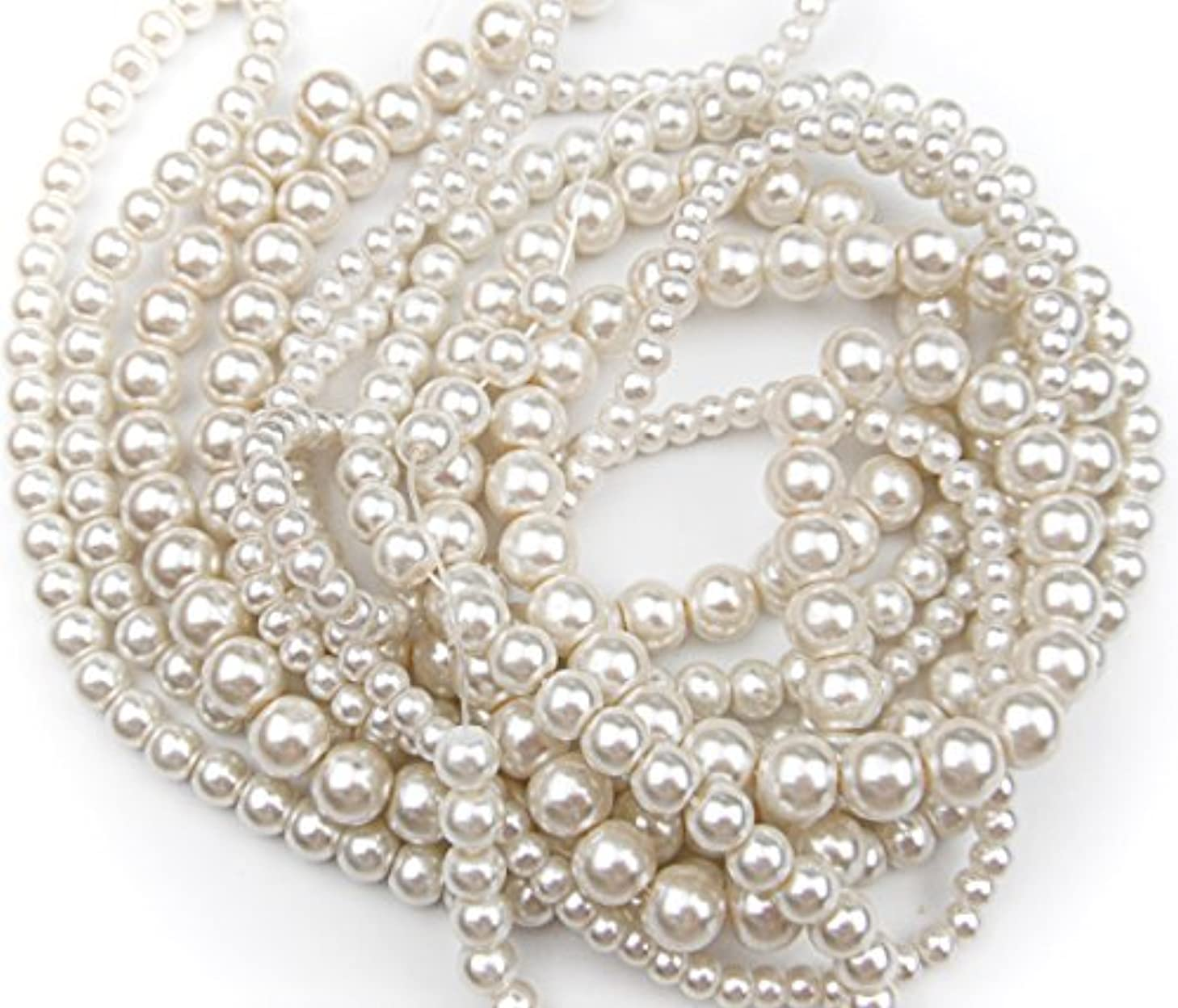 ALL in ONE 3 Strands 380pcs Round Pearl Loose Beads (MIX SIZE, IVORY)