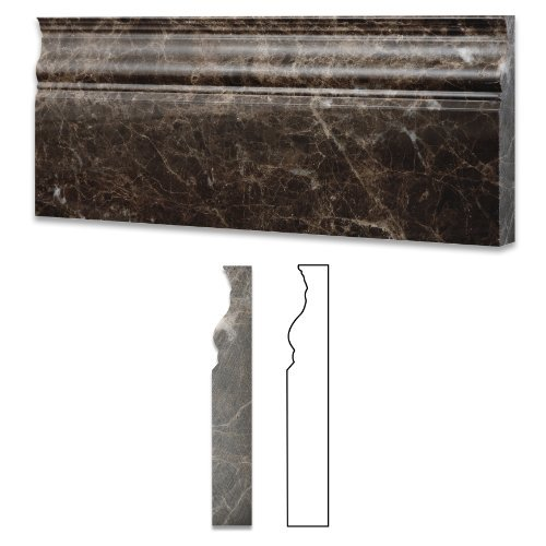Emperador Dark Marble Polished 5 X 12 Baseboard - Box of 5 pcs. by Oracle Moldings