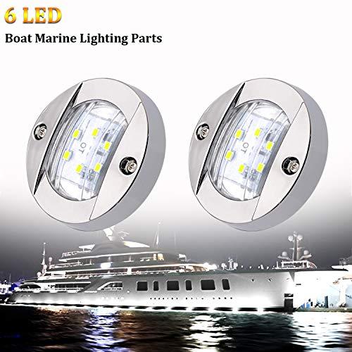 PSEQT 3'' Marine Boat Interior Lights,Round 12V Waterproof Deck LED Courtesy Light,White Stern...