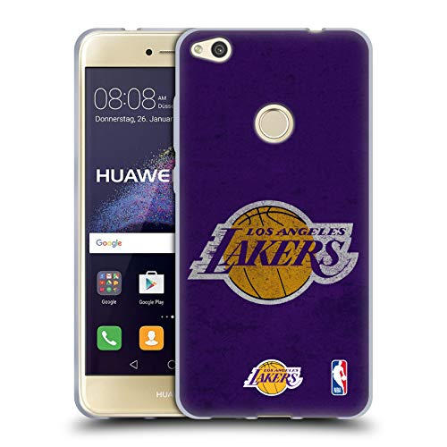 Official NBA Distressed Look Los Angeles Lakers Soft Gel Case Compatible for Huawei P8 Lite (2017)