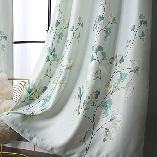 Taisier Home Grommet Top Style Vintage Blue Green Floral Abstract Painting Windows Room Darkening Curtains Printed Nature Abstract Blue Green Flower for Living Room Bedroom (2 Panels 52 x 95 Inch)