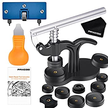 Paxcoo 17Pcs Watch Press Tool with Watch Battery Replacement Tool kit and Fitting Dies for Watch Back Remover Closer Repair and Battery Changing  Instruction included
