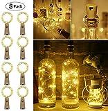LE 2m Lampes de Bouteille 20 LEDs 8 Packs, Guirlande Lumineuse en Cuivre Blanc Chaud à Piles(Inclus), Lumière Bouteille Étanche pour Décoration Anniversaire, Fête, Mariage, Soirée, etc