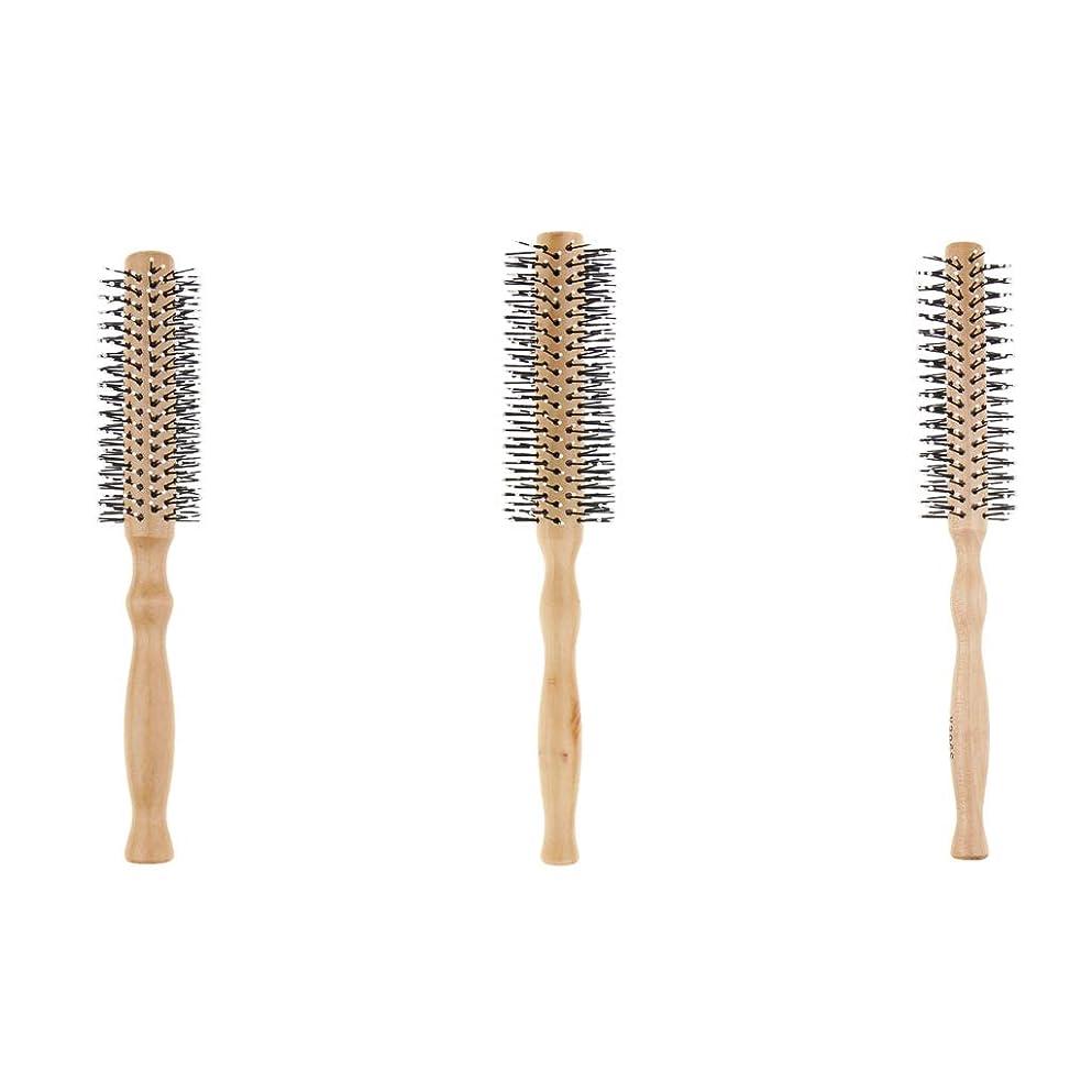 罰適格ワードローブ3本セット ロールブラシ 巻き髪 ヘアブラシ 木製櫛 スタイリングブラシ