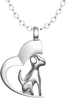 Inconly Cremation Urn Necklace Ash Necklace Urn Stainless Steel Pendants Cremation Jewelry