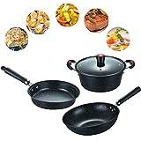 Juego de utensilios de cocina antiadherentes Gflyme, juego de ollas y sartenes de cocina de 3 piezas con cacerolas, sartenes, ollas, cocina versátil y apto para lavavajillas