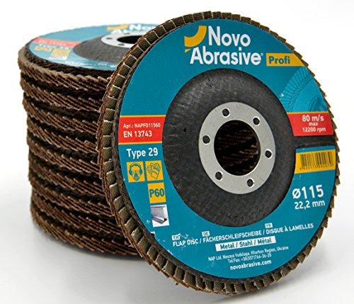 Novoabraive Premium Flap Disc 115 mm korrel 60 stuks slijpschijven voor haakse slijper, ideaal voor roestvrij staal, gietijzer, hout, kunststoffen, ijzermetalen, universeel
