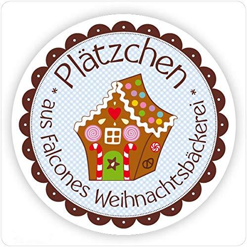 Aufkleber Lebkuchenhaus | Mit deinem Wunschnamen/Wunschtext | 40mm, rund | 20, 50, 100 oder 200 Stück