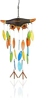 Vindar Wind Chime, Iron Folk Art Owl Model Design Glass Wind Chimes for Wall Hanging Home Art Decor, Beautiful Apartment Room Dorm Decoration, Great Gift Decor for Terrace,Patio,Porch,Garden,Backyard