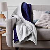 Amazon Basics Ultra-Soft Micromink Sherpa Blanket - Full or Queen, Navy Blue