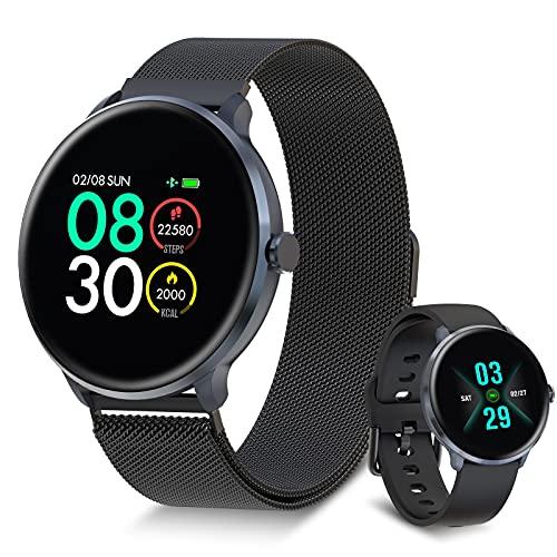 【Verbesserte Version】 Bebinca Smartwatch Fitness-Tracker mit automatischem Herzfrequenzmesser 7/24, Wetterbericht, Blutsauerstoff, DIY-Zifferblatt, IP68 wasserdicht, größerer Akku