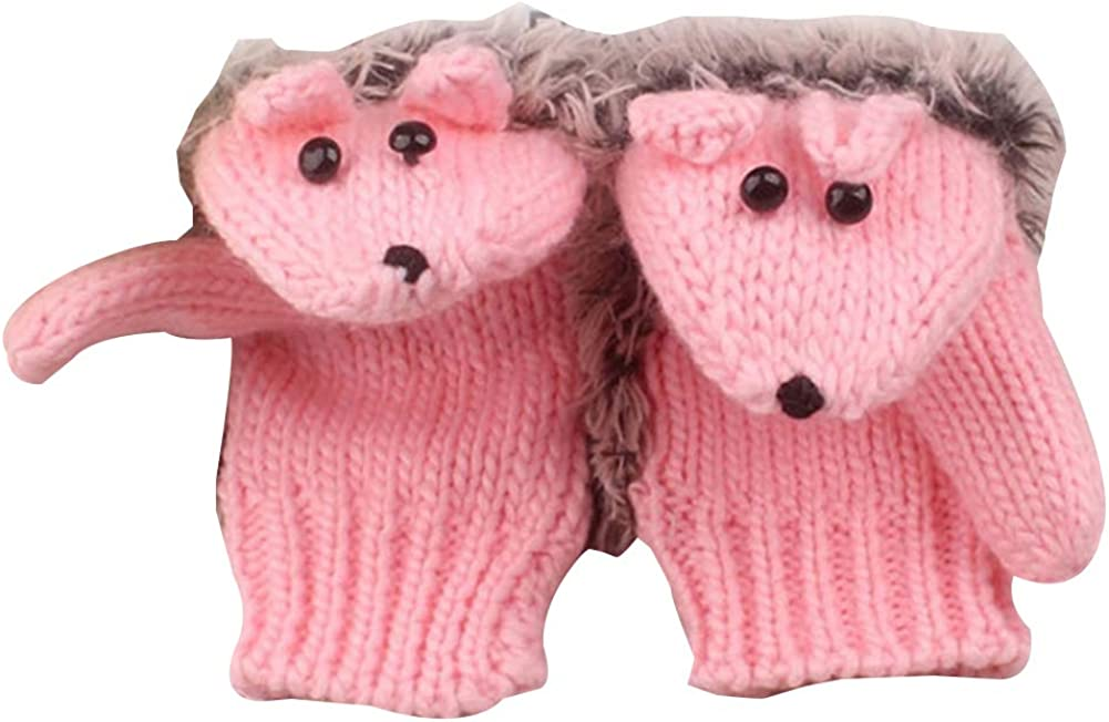 helegeSONG Winter Gloves Warm Mitten, Women Cartoon Hedgehog Animal Winter Warm Knitted Gloves Full Finger Mittens - Pink