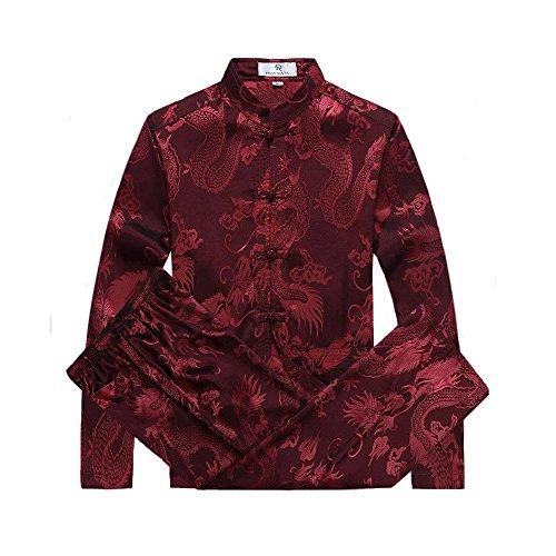 G-like Chinesische Kleidung Tang Anzug - Traditionelle Klassische Kostüme Kampfkunst Kung Fu Tai Chi Qigong Lange Ärmel Drachen Muster Performance Uniform für Männer Frauen (Rot, M)
