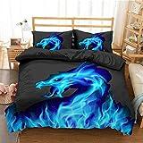 352 FUKAN juego de ropa de cama con estampado 3D de leopardo/dinosaurio juego de funda de edredón y funda de almohada para adultos Textil-Qneen tamaño adulto