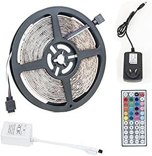 eDealMax 16.4 pies 5M 300LEDs impermeables 3528 Kit de SMD RGB LED tira flexible Light +