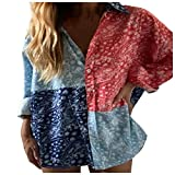 YANFANG Camiseta con Estampado de Manga Larga para Mujer Blusa con Tops Casuales,Túnica Tops Floral Camisas Blusa,, Blue,M
