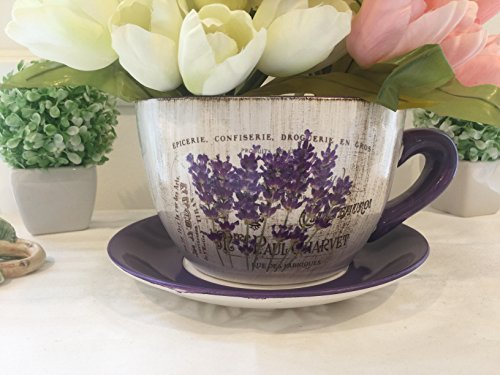 Teacup Shaped Large 7.5 inch Purple Lavender & White Planter, Shabby Chic,Decorative Ceramic Showpiece with Floral Design