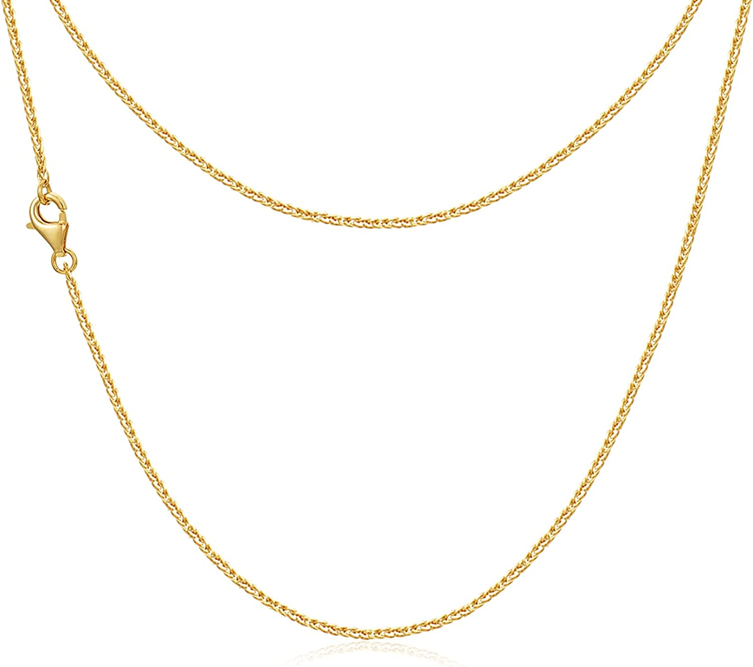 Solid 14K/18K Gold Wheat Chain Necklace Jewelry for Women, Yellow Gold Shiny Braided Wheat Chain Necklace with Lobster Claw Clasp, 16/18/20/22inch