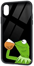 Sov Dav Kermit The Frog Sipping iPhone Xs Case,iPhone X Cases Tempered Glass Back Shell Pattern Designed with Soft TPU Bumper Case for iPhone X/XS Cases