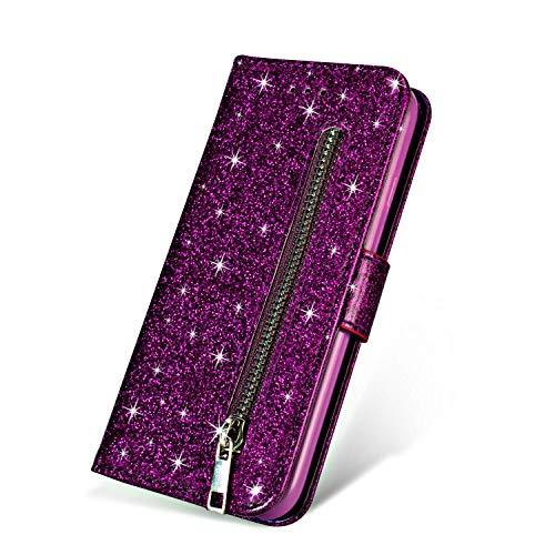 ZCDAYE - Funda con tapa para Samsung Galaxy J (cierre de cremallera), diseño de purpurina, piel sintética TPU, morado, Samsung Galaxy J6 Plus