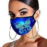 Looekveoyi Face Bandana Unisex Adultos Reutilizables Revestimientos faciales Estampado de mariposa Lavable Facial Boca Protector de nariz Anti polvo