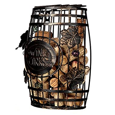 Home-X - Wall Mounted Metal Wine Cork Holder, This Elegant Wine Barrel Shaped Wall Mount is the Perfect Addition to Any Wine Connoisseurs' Décor Collection, Holds Over 50 Corks