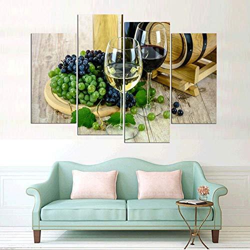 KOPASD Cata de vinos 4 Panel Lámina del Paisaje del Arte impresión en Lona Cuadros de la Pared de la Foto,para el hogar decoración Moderna impresión