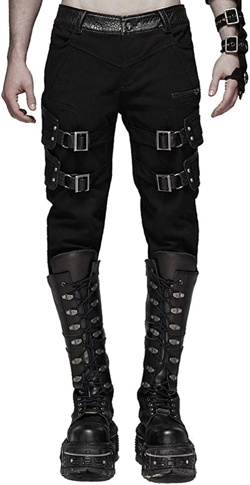 Punk Rave Men's Punk Handsome Stretch Trousers Elastic Twill Long Pants Daily Casual Fashion Streetwear Hip Hop Men Pants