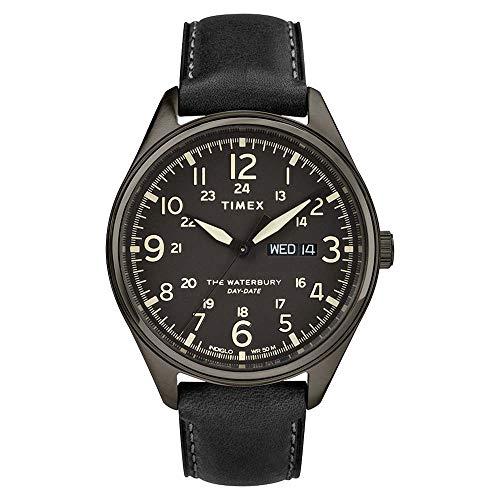 Timex Herren-Armbanduhr, Quarz, 42 mm, schwarzes Zifferblatt, schwarzes Lederarmband, TW2R89100