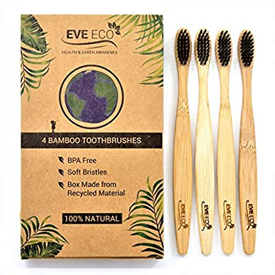 Bamboo Organic Wood Toothbrush | Vegan Charcoal Soft Bristles For Sensitive Gums | Biodegradable Wooden Brush For Adult Kids | Eco-Friendly Recycle Natural Toothbrushes Set 4 Pack