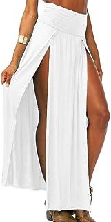 desolateness Women's Sexy Knit Long Maxi Skirt High Waisted Double Slits Open Skirt