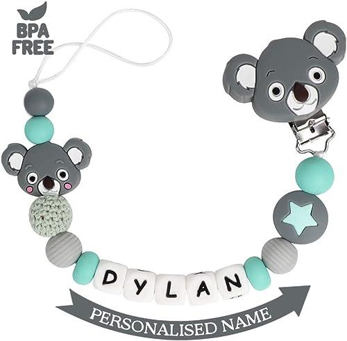 Attache Sucette Nom Personnalisé Prenom Silicone Koala Clips factices Anneau de Dentition pour Garçons et Filles Bébé...