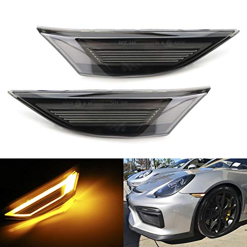 iJDMTOY GT RS Style Raised 3D Smoked Lens Amber Full LED Front Side Marker Light Kit, Compatible With Porsche 911 Carrera, Cayman and Boxster, Replace OEM Amber or Clear Sidemarkers