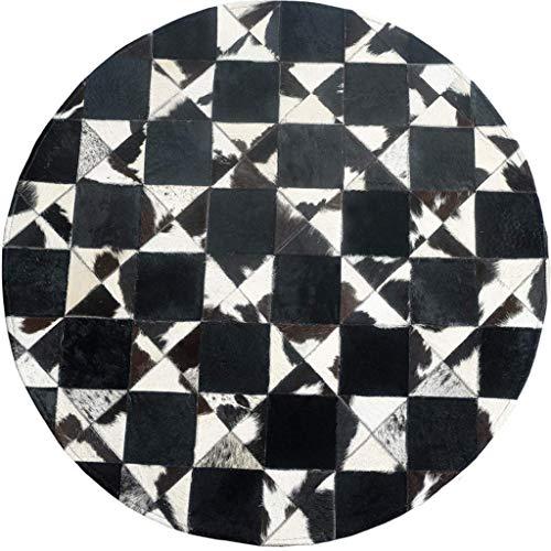 BPQ Kuhfell Nähte Runde Teppich Schlafzimmer Wohnzimmer Persönlichkeit Kreative Geometrische Muster Einfache Europäischen Haushalt Teppich (Schwarz Weiß Plaid) (größe : Diameter 120cm)