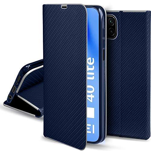 Moozy Funda con Tapa para Huawei P40 Lite, Carbono Azul Oscuro – Flip Cover con Bordes Metalizados de Protección Elegante, Soporte y Tarjetero