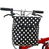 Easy-topbuy Cesta Delantera De Bicicleta, Cesta para Manillar Plegable Impermeable con Cubierta Cesta para Bici De Gran Capacidad De Lona para Adultos, Niños Y Mascotas, 24x15.5x27 Cm
