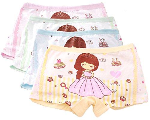 FAIRYRAIN 4 Packung Baby Kleinkind Mädchen Prinzessin Crown Pantys Hipster Shorts Spitze Baumwollunterhosen Unterwäsche 4-6 Jahre