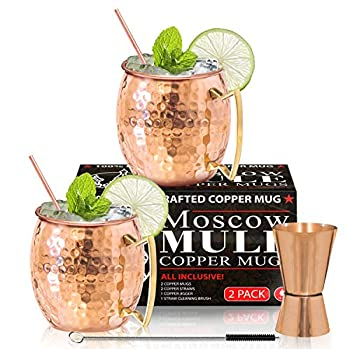 Moscow Mule Copper Mugs - Set of 2 - 100% HANDCRAFTED - Food Safe Pure Solid Copper Mugs - 16 oz Gift Set with BONUS - Highest Quality Cocktail Copper Straws Straw Cleaning Brush and Jigger!