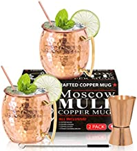 Moscow Mule Copper Mugs - Set of 2 - 100% HANDCRAFTED - Food Safe Pure Solid Copper Mugs - 16 oz Gift Set with BONUS - Highest Quality Cocktail Copper Straws, Straw Cleaning Brush and Jigger!