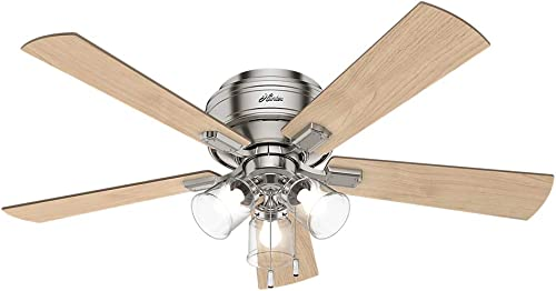 """Hunter Crestfield Indoor Low Profile Ceiling Fan with LED Light and Pull Chain Control, 52"""", Brushed Nickel"""