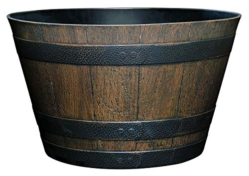 Classic Home and Garden S1027D-037R Whiskey Barrel Planter, 20.5', Kentucky Walnut